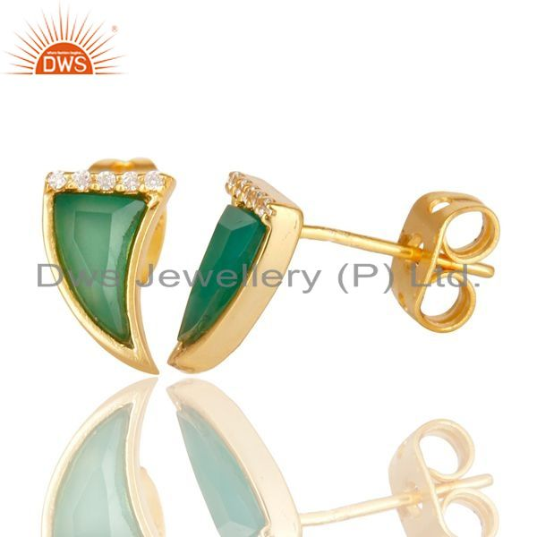 Suppliers Green Onyx Tiny Horn Cz Studded Post Gold Plated Sterling Silver Earring