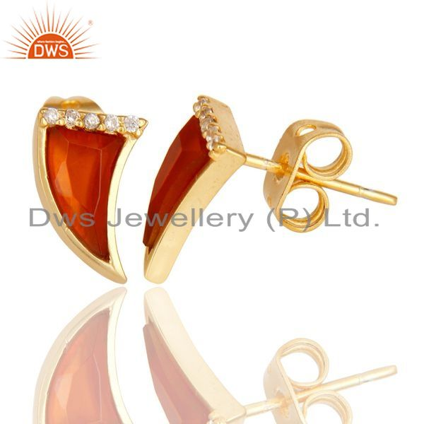 Suppliers Red Onyx Tiny Horn Cz Studded Post Gold Plated Sterling Silver Earring