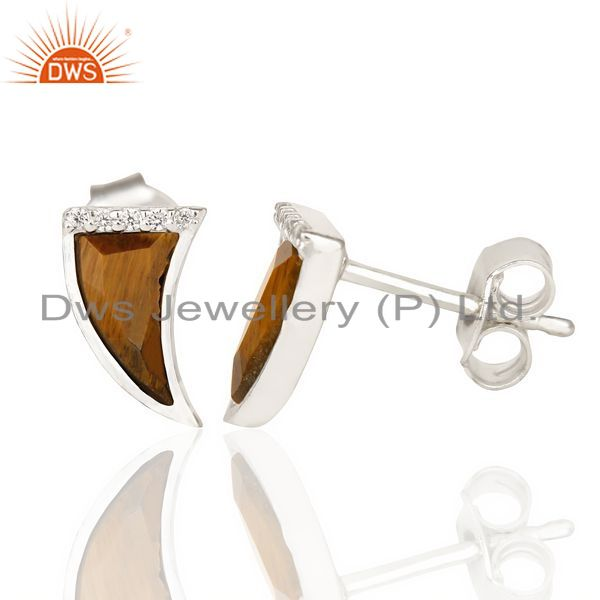 Suppliers Tigereye Tiny Horn Cz Studded Post 92.5 Sterling Silver Small Earring