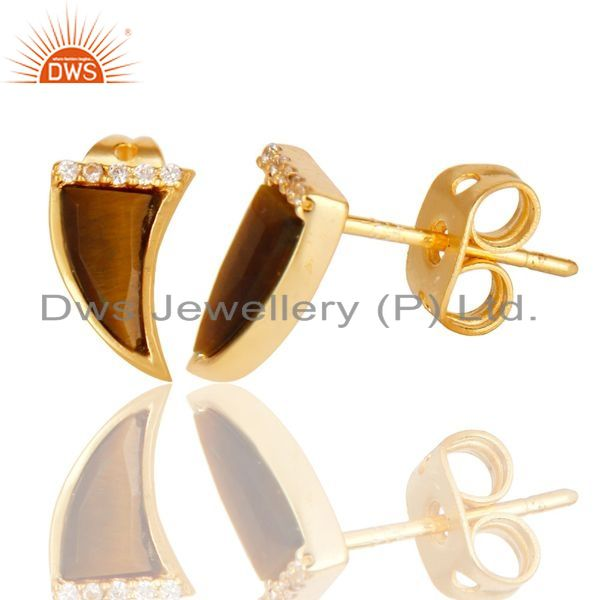 Suppliers Tigereye Tiny Horn Cz Studded Post Gold Plated Sterling Silver Earring