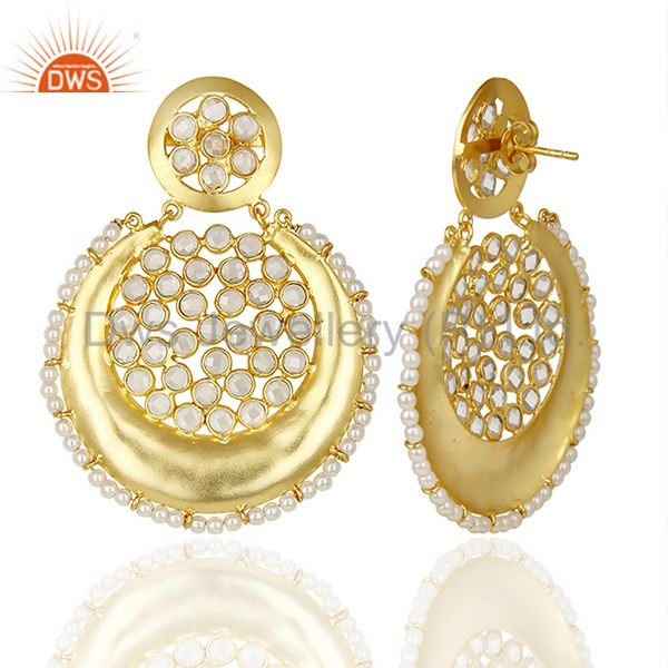 Suppliers Silver Gold Plated Natural Pearl Gemstone Chand Bali Earrings Supplier