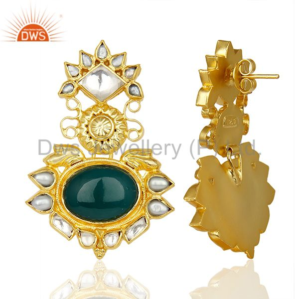 Suppliers Green Onyx Pearl Gemstone Gold Plated Silver Earrings Supplier