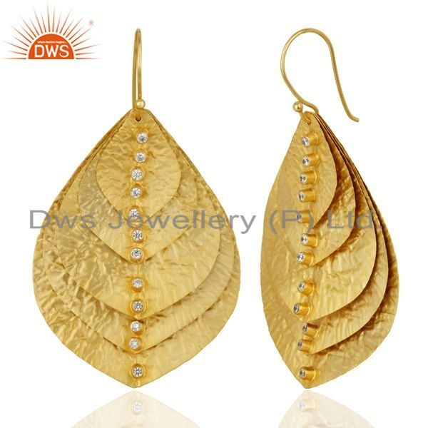Suppliers Gold Plated Sterling Silver Leaf Design Zircon Earring Manufacturer