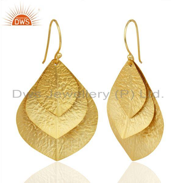 Suppliers Handmade Leaf Design Gold Plated Sterling Plain Silver Earrings