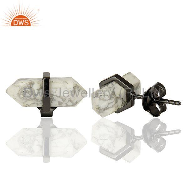 Suppliers Pencil Design White Howlite Gemstone 925 Silver Stud Earrings Supplier