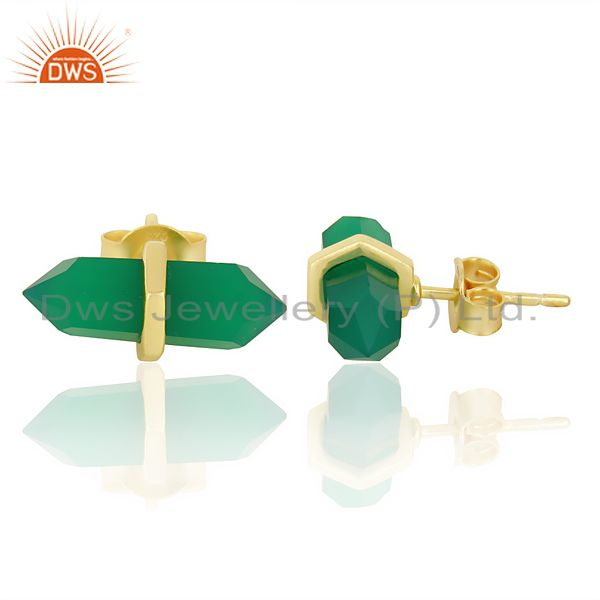 Suppliers Green Onyx Terminated Pencil Post Gold Plated Sterling Silver Earring