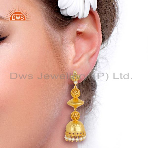 Suppliers Handcreafted Artisan Indian traditional Gold Plated 92.5 Sillver Jhumka Earring