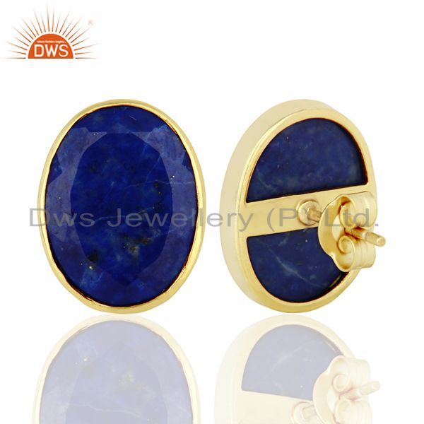 Suppliers Natural Lapis Flat Large Statement Oval Post Gold Plated Silver Earring