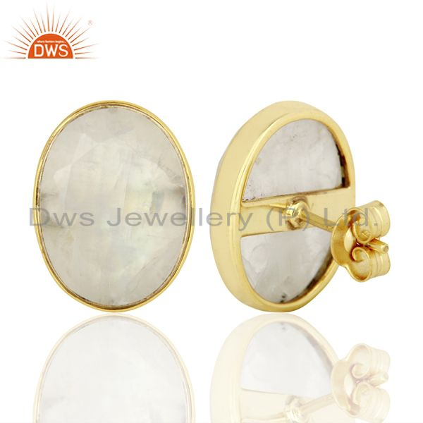 Suppliers Rainbow Moonstone Flat Large Statement Oval Post Gold Plated Silver Earring