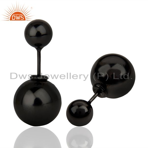 Suppliers Two Ball Stud,Two Way Stud Post 14K Black Rhodium Trendy Sterling Silver Earring