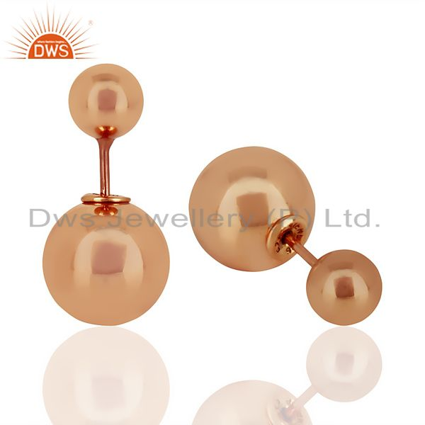 Suppliers Two Ball Stud,Two Way Stud Post Rose Gold Plated Trendy Sterling Silver Earring