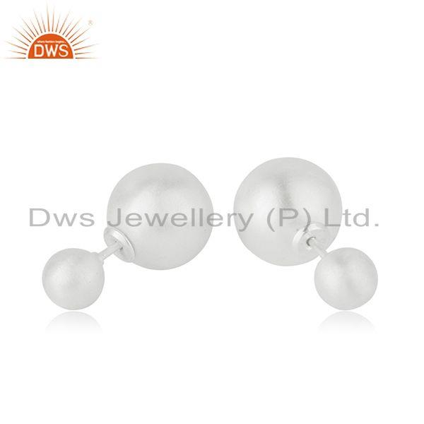 Suppliers Handmade 925 Sterling Silver Double Side Stud Earrings Manufacturer India