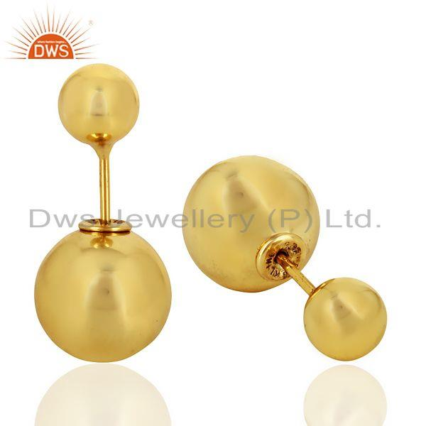Suppliers Two Ball Stud,Two Way Stud Post 14K Gold Plated Trendy Sterling Silver Earring