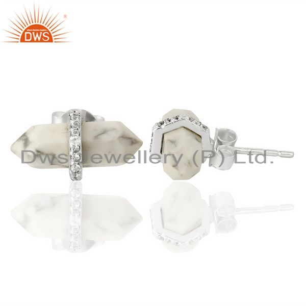 Suppliers Howlite Cz Studded Pencil Post 92.5 Sterling Silver Wholesale Earring
