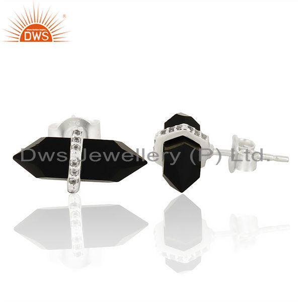 Suppliers Black Onyx Cz Studded Pencil Post 92.5 Sterling Silver Wholesale Earring