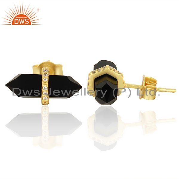 Black Onyx Cz Studded Pencil Post 14K Gold Plated Silver Earring Supplier