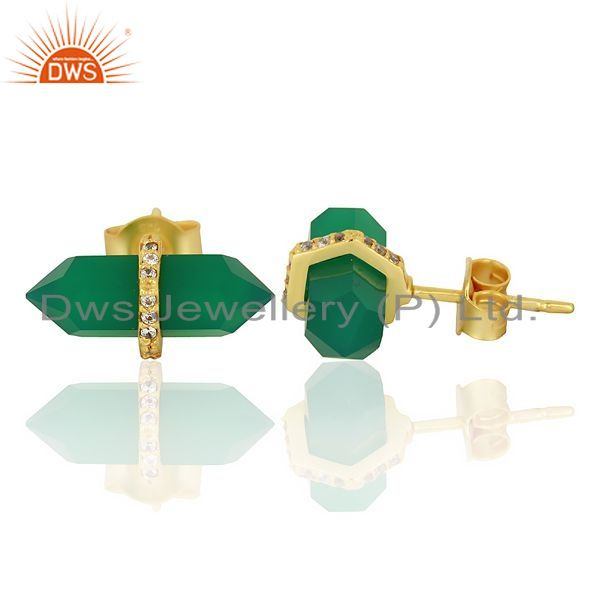 Suppliers Green Onyx Cz Studded Pencil Post 14K Gold Plated Sterling Silver Earring