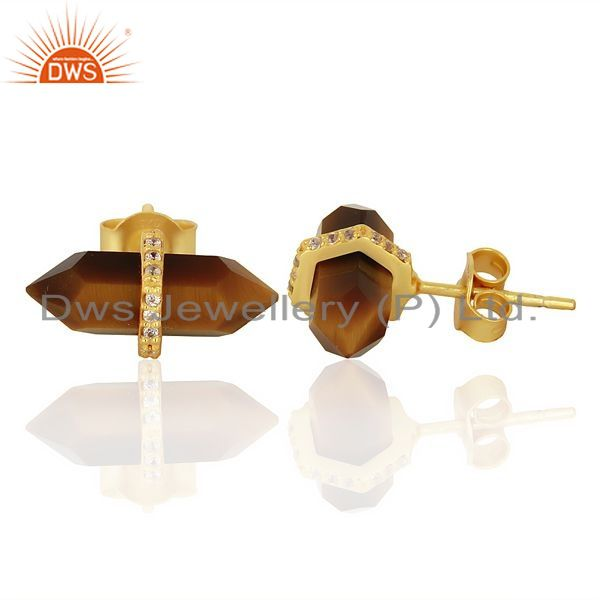 Suppliers Tigereye Cz Studded Pencil Post 14K Gold Plated Sterling Silver Earring