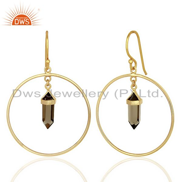 Suppliers Smoky Topaz Hoop Earring,Pencil Terminated Earring Gold Plated Silve Earring