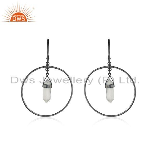 Suppliers Handmade 925 Silver Black Rhodium Plated Gemstone Earrings Manufacturer India