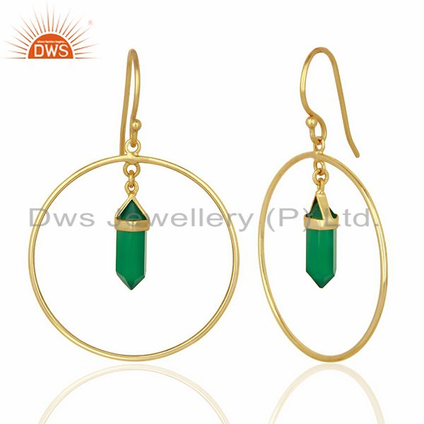 Suppliers Green Onyx Hoop Earring,Pencil Terminated Earring Gold Plated Silve Earring