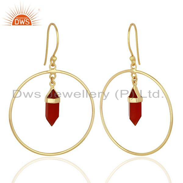 Suppliers Red Onyx Hoop Earring,Pencil Terminated Earring Gold Plated Silve Earring
