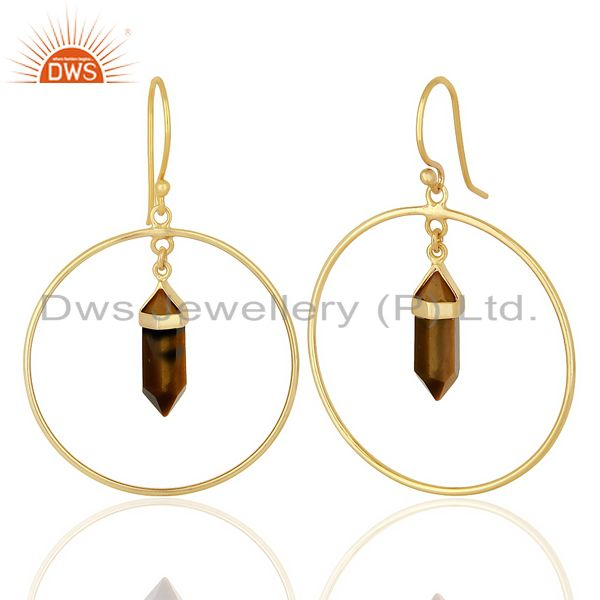 Suppliers Tigereye Hoop Earring,Pencil Terminated Earring Gold Plated Silve Earring