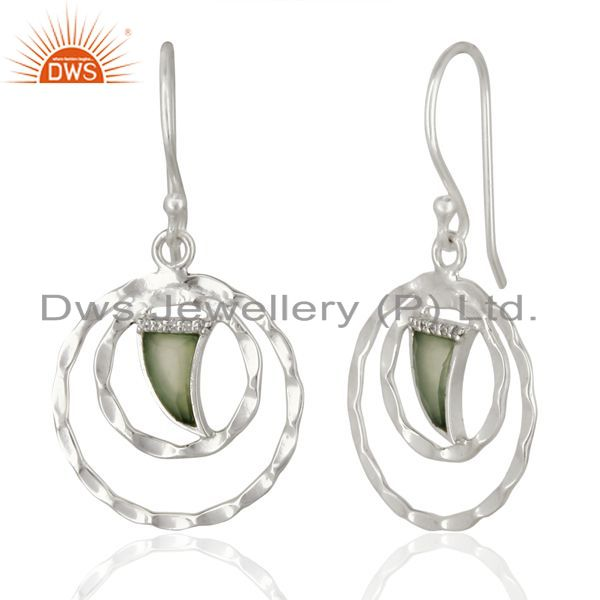 Suppliers Aqua Chalcedony Textured Hoops,Horn Hoops,92.5 Silver Wholesale Hoops Earring