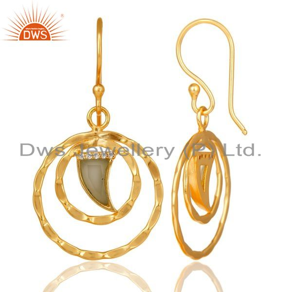 Suppliers Aqua Chalcedony Textured Hoops,Horn Hoops,Gold Plated 92.5 Silver Hoops Earring