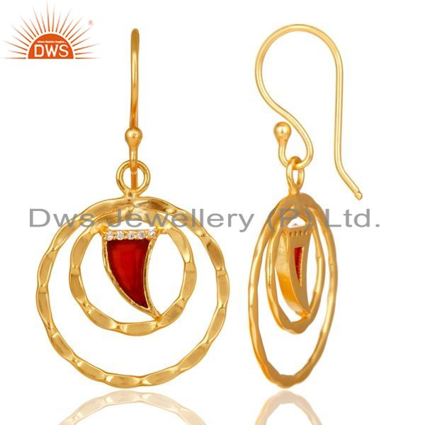 Suppliers Red Onyx Textured Hoops,Horn Hoops,Gold Plated 92.5 Silver Hoops Earring