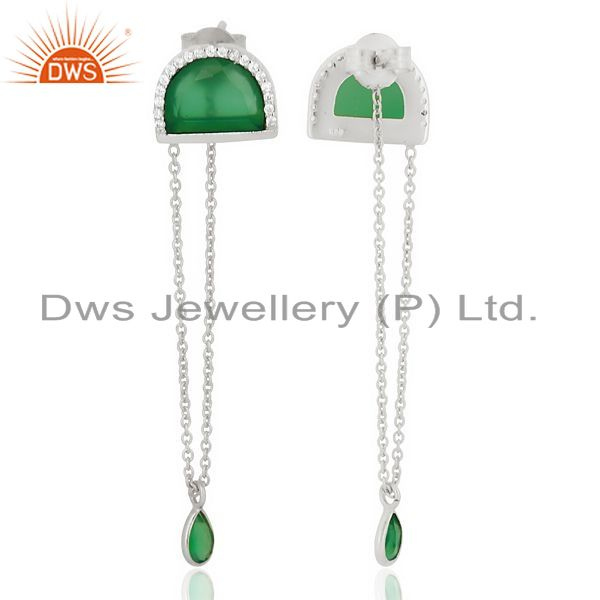 Suppliers Green Onyx Studded Half Moon Long Dangle 92.5 Sterling Silver Earring