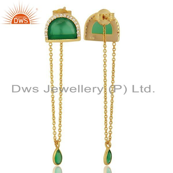 Green Onyx Studded Half Moon Long Dangle Gold Plated Silver Earring Supplier Jaipur
