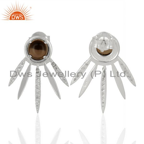 Suppliers Smoky Topaz And White Cz Studded Spike Post 92.5 Sterling Silver Earring