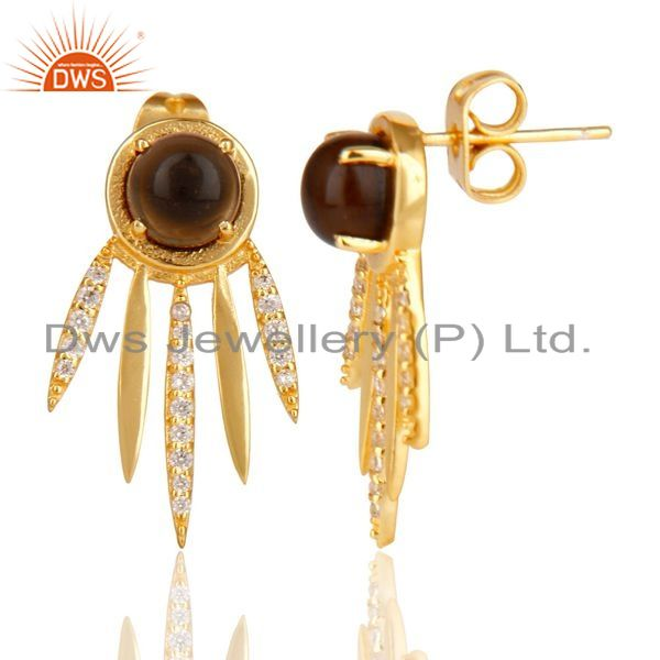 Suppliers Smoky Topaz And White Cz Studded Spike Post Gold Plated Sterling Silver Earring