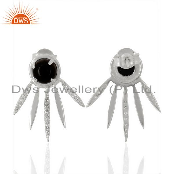 Suppliers Black Onyx And White Cz Studded Spike Post 92.5 Sterling Silver Earring