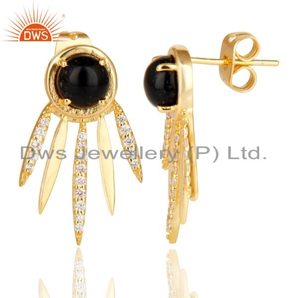 Suppliers Black Onyx And White Cz Studded Spike Post Gold Plated Sterling Silver Earring