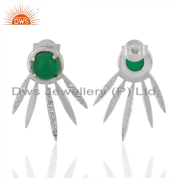 Suppliers Green Onyx And White Cz Studded Spike Post 92.5 Sterling Silver Earring