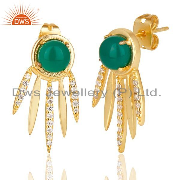 Suppliers Green Onyx And  White Cz Studded Spike Post Gold Plated Sterling Silver Earring