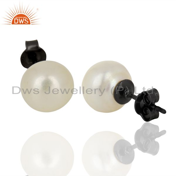 Suppliers Genuine Pearl Stud 10 MM Post Black rhodium 92.5 Silver Wholesale Earring