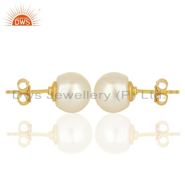 Suppliers Genuine Pearl Stud 10 MM Post Gold Plated 92.5 Sterling Silver Wholesale Earring