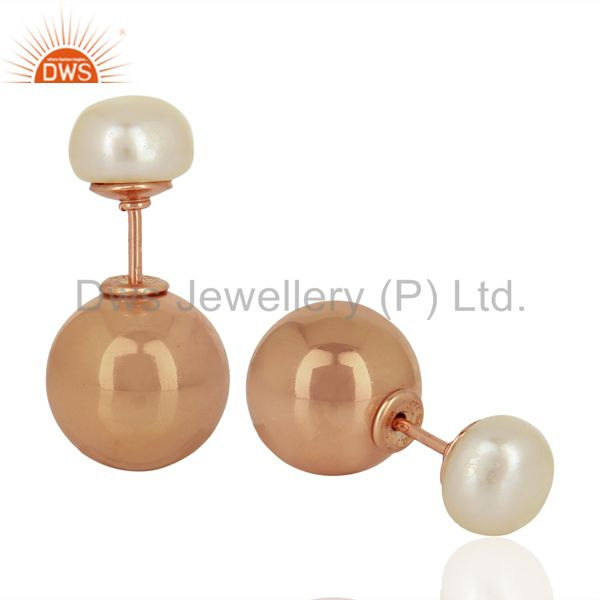 Suppliers Pearl Stud 18K Rose Gold Plated 925 Sterling Silver Stud Earrings Jewelry