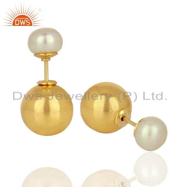 Suppliers Pearl Stud 18K Yellow Gold Plated 925 Sterling Silver Stud Earrings Jewelry