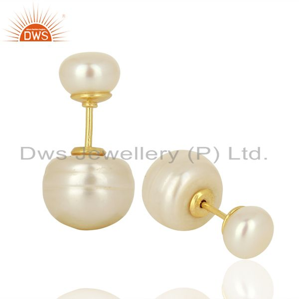 Suppliers Pearl Stud 18K Yellow Gold Plated 925 Sterling Silver Earrings Jewelry