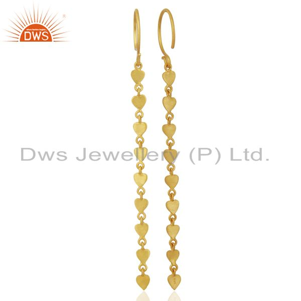 Suppliers 14K Yellow Gold Plated 925 Sterling Silver Long Chain Dangle Earrings Jewelry