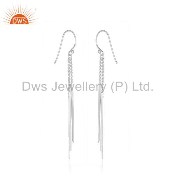 Suppliers Long Tassel Chain 925 Sterling Silver White Rhodium Plated Dangle Earring