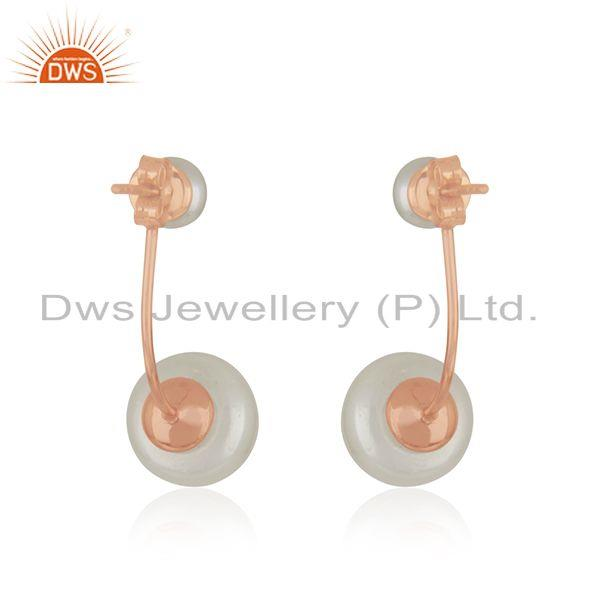Suppliers New Rose Gold Plated Silver Pearl Earrings Jewelry For Womens