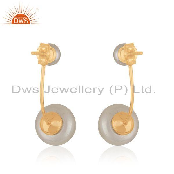 Suppliers Natural Pearl Gemstone Designer Gold Plated Silver Earrings Jewelry