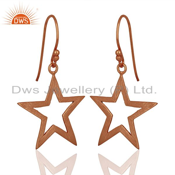 Suppliers Rose Gold Plated Silver Star Designer Plain Silver Earrings Jewelry