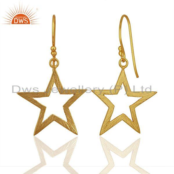 Suppliers Lucky Star Charm Gold Plated Sterling Plain 925 Silver Earrings
