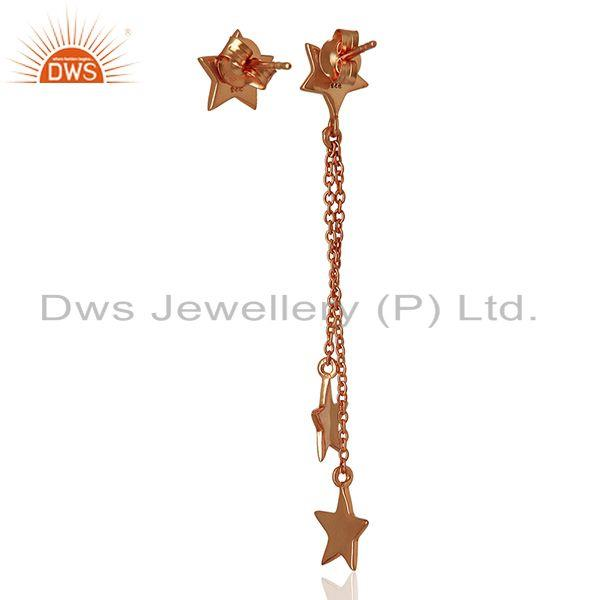 Suppliers Rose Gold Plated Sterling Silver White Topaz Star Charm Chain Earrings